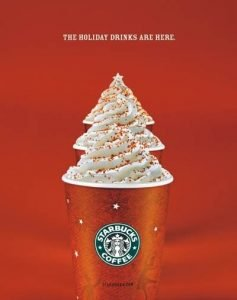 Anuncio de Starbucks. The holiday drinks are here