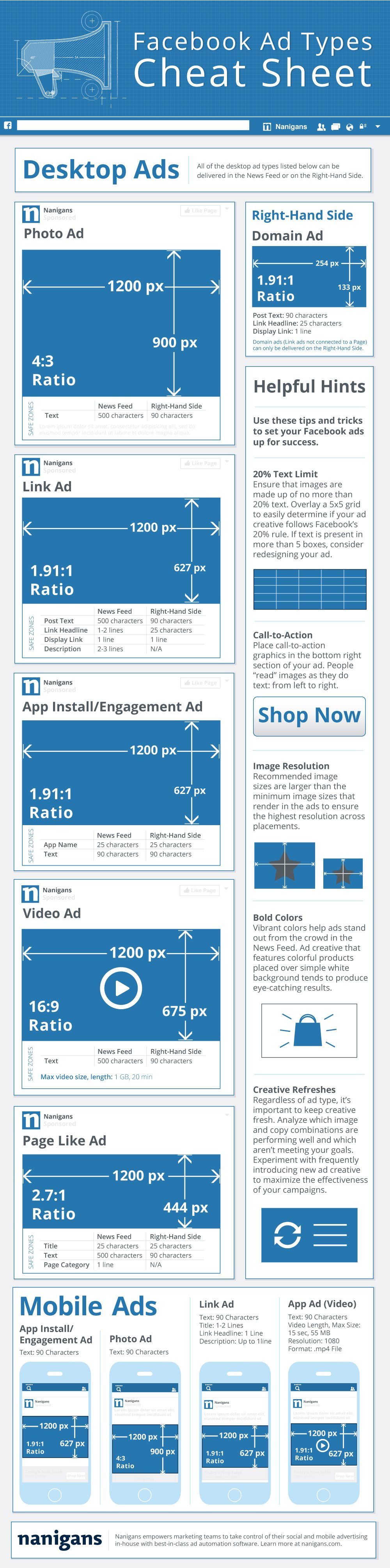 Nanigans Facebook Ad Types Infographic